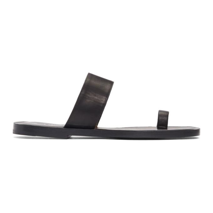 Jil Sander Navy Black Leather Toe Ring Sandals