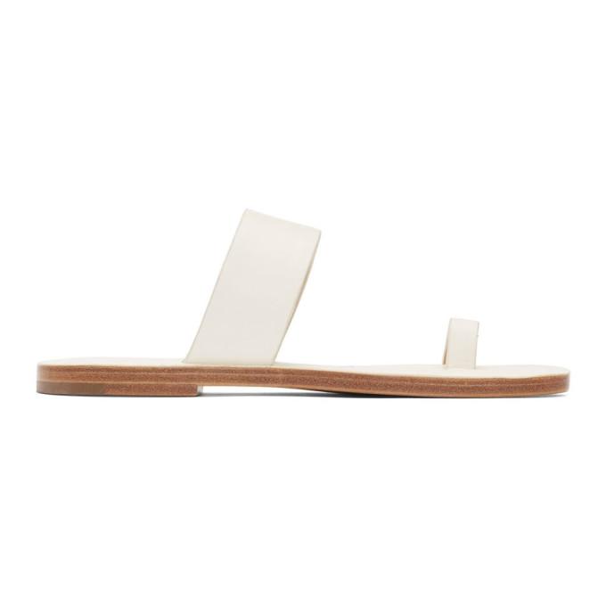 Jil Sander Navy Off-White Leather Toe Ring Sandals