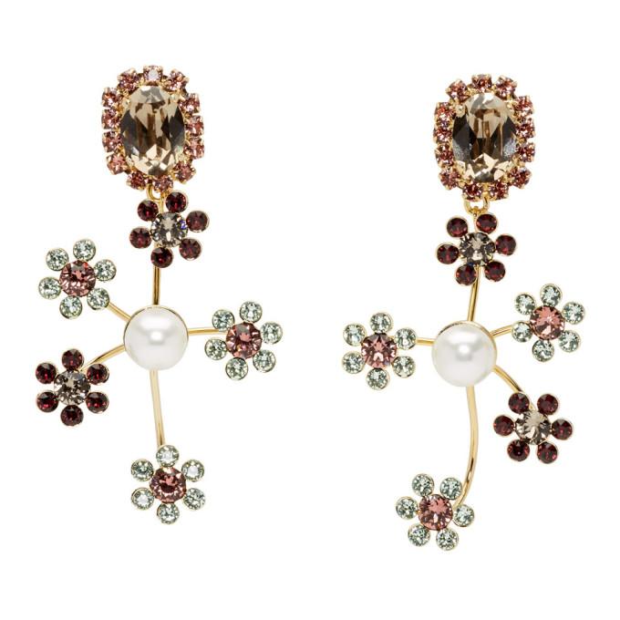 Erdem Gold Floral Cluster Drop Earrings