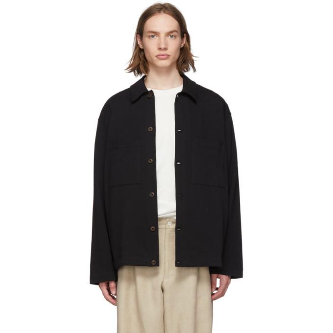 Lemaire Blouson en jersey noir Overshirt