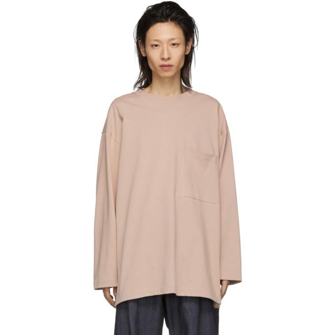Lemaire T-shirt a manches longues en coton epais rose