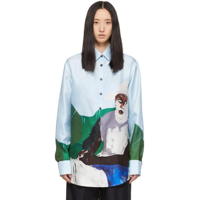 Etudes Studio T-shirts ETUDES BLUE HENRY TAYLOR EDITION SILK MOUNTAIN HORSE SHIRT