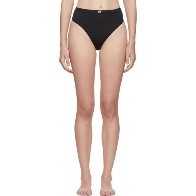 Versace Underwear Culotte de bikini a taille haute noire Medusa Coin