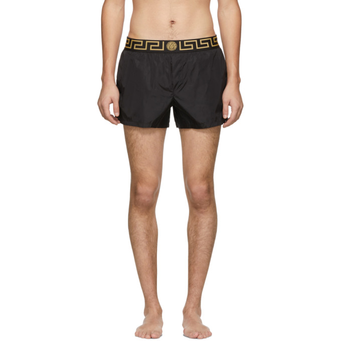 946940f81952 Versace Black Short Greek Key Medusa Swim Shorts In A80G Black ...