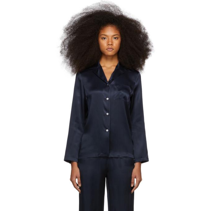 MANSUR GAVRIEL | Mansur Gavriel Navy Silk Flowy Pajama Shirt | Goxip