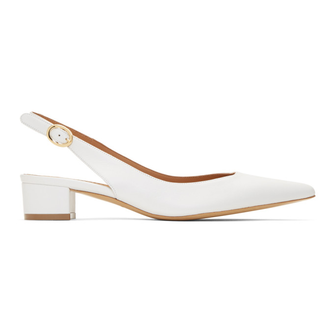 Mansur Gavriel White Slingback Heels