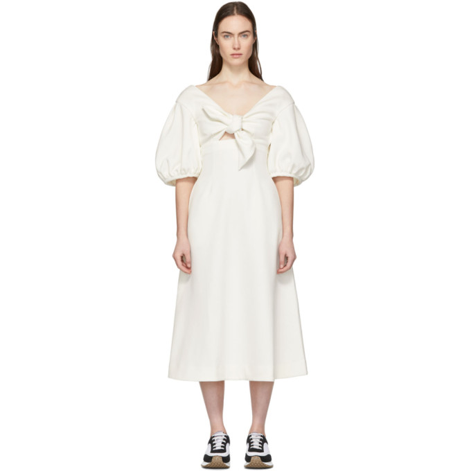 Image of Edit White Tie Front A-Line Dress