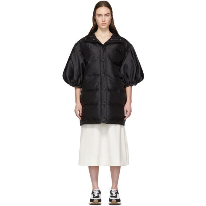 Image of Edit Black Ballon Sleeve Puffa Coat