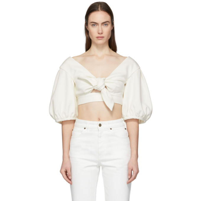Image of Edit White Cropped Bow Front Blouse