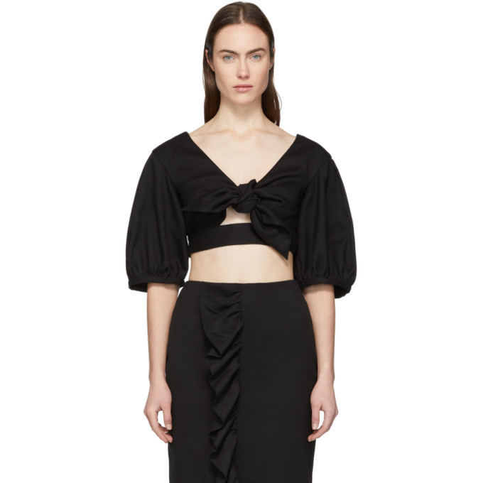 Image of Edit Black Cropped Bow Front Blouse