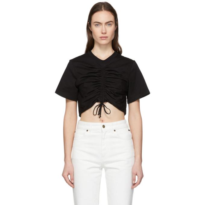 Edit T-shirt ecourte noir Ruched Front