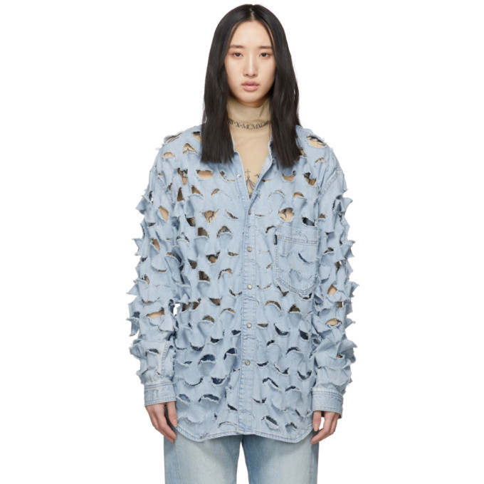 Vetements Chemise en denim a decoupes bleue edition Levis