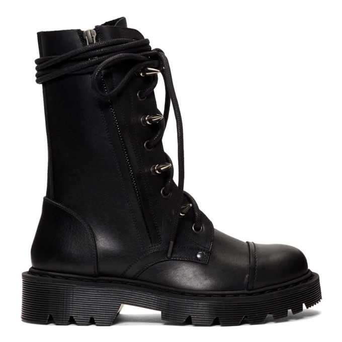 Vetements Boots VETEMENTS BLACK SPIKED ARMY BOOTS