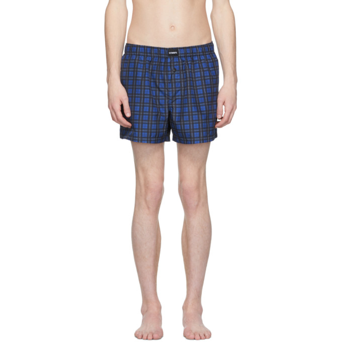 Blue Check Plaid Tartan Mens Beach Shorts Quick Dry Swimming Trunks with 3 Pockets