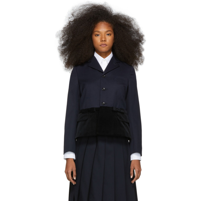 Image of Comme des Garcons Girl Navy and Black Panelled Blazer