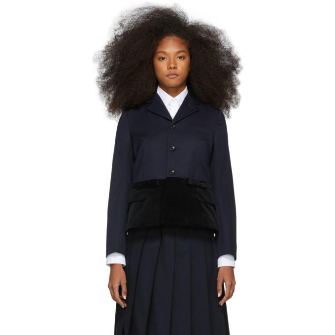 Image of Comme des Garçons Girl Navy & Black Panelled Blazer