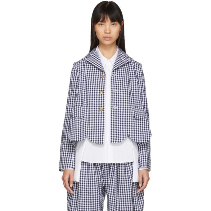 Image of Comme des Garçons Girl Blue & White Gingham Scalloped Blazer