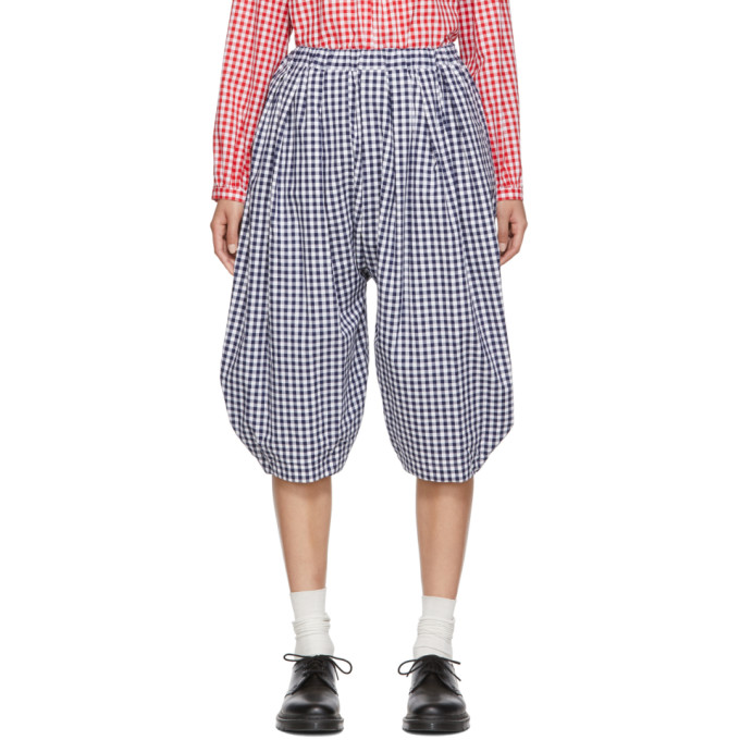 Image of Comme des Garcons Girl Blue and White Gingham Wide Trousers
