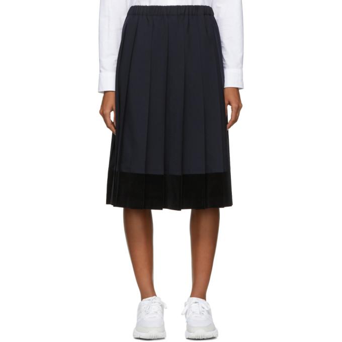Image of Comme des Garçons Girl Navy Velveteen Panel Skirt