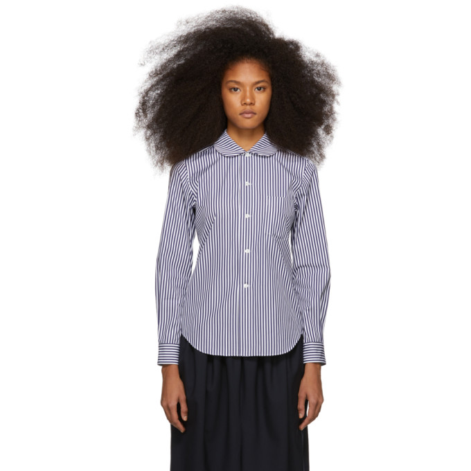 Image of Comme des Garcons Girl Navy and White Striped Peter Pan Collar Shirt