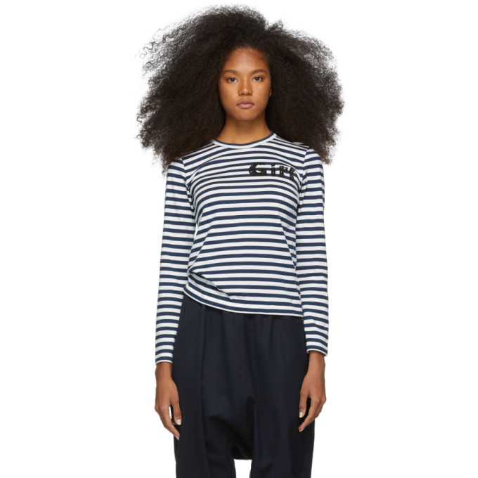 Image of Comme des Garcons Girl Navy and White Striped Logo T-Shirt