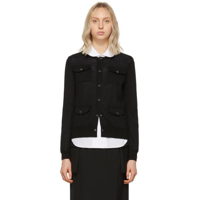 Image of Comme des Garçons Comme des Garçons Black Four-Pocket Cardigan
