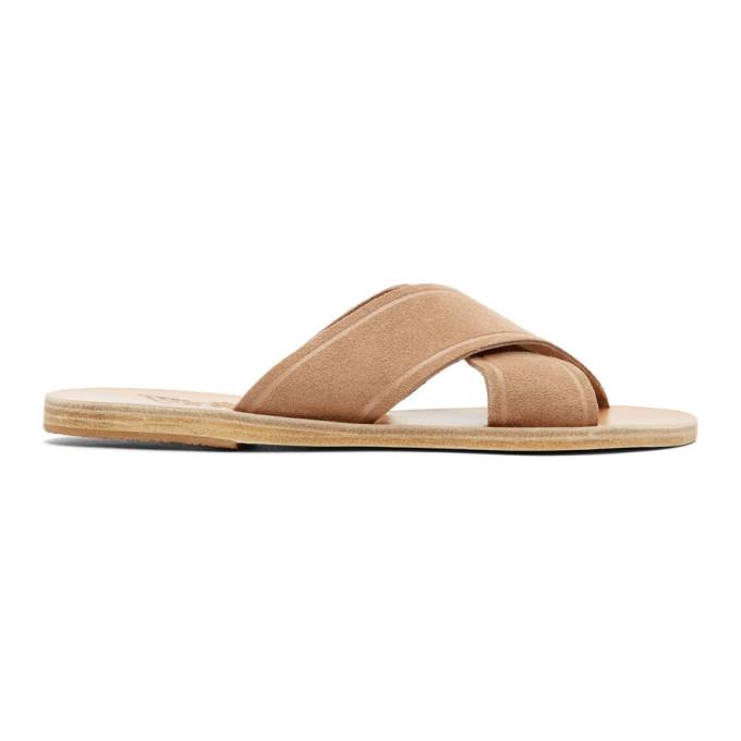 Ancient Greek Sandals Tan Suede Thais Sandals
