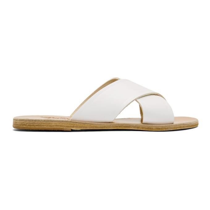 Ancient Greek Sandals White Thais Sandals