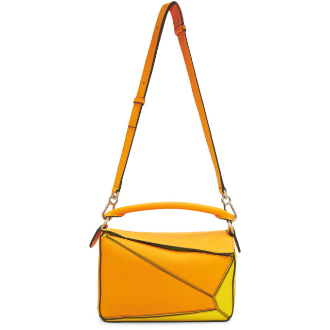 Loewe Orange & Yellow Small Puzzle Bag