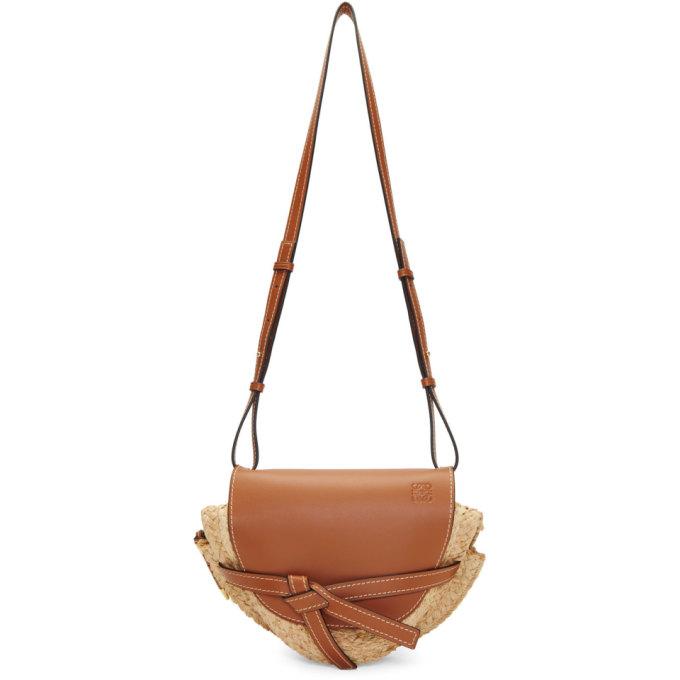 Loewe Bags LOEWE TAN AND BEIGE SMALL RAFFIA GATE BAG
