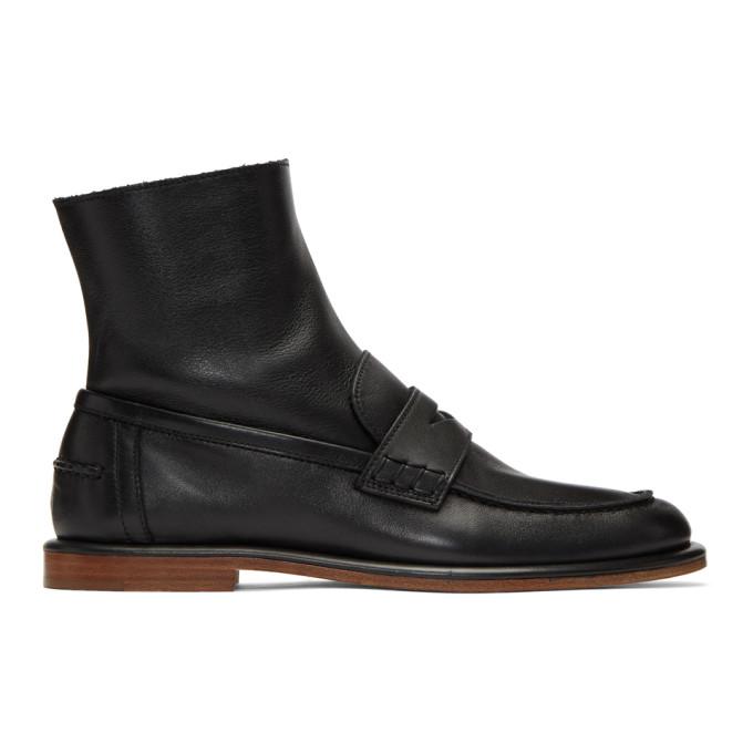LOEWE | Loewe Black Loafer Boots | Goxip