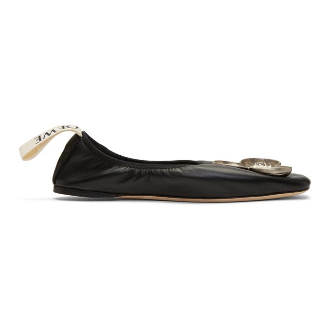 Loewe Black Shamrock Ballerina Flats