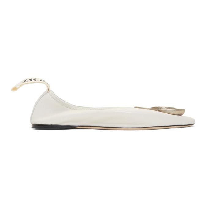 LOEWE | Loewe White Shamrock Ballerina Flats | Goxip