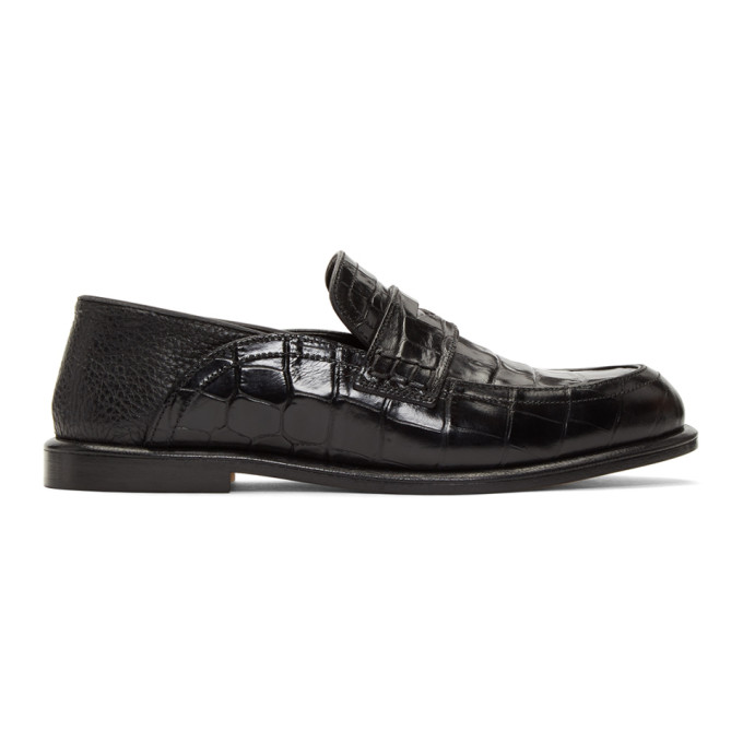 Loewe Black Croc Leather Slip-On Loafers
