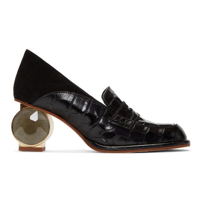 LOEWE | Loewe Black Strass Loafers | Goxip