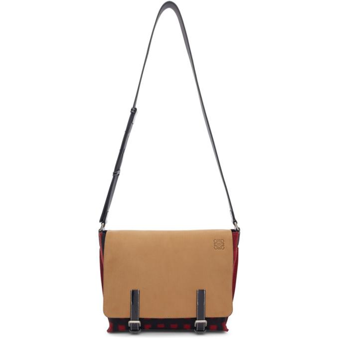 Loewe Beige & Red Grid S Military Messenger Bag