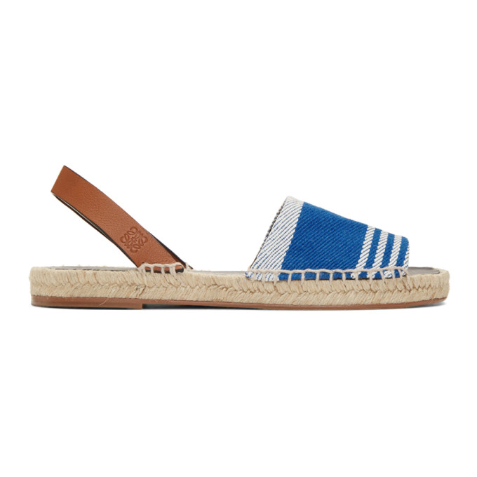 Loewe Blue & Tan Striped Espadrilles
