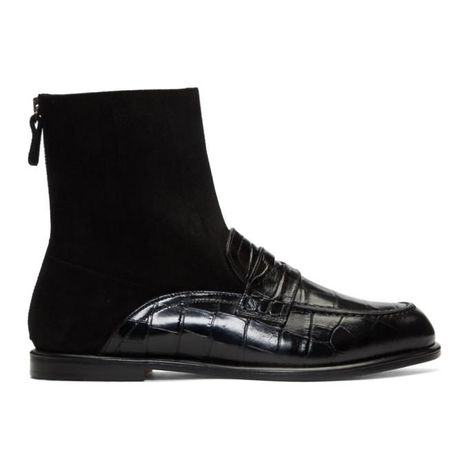 Loewe Black Croc Sock Boots