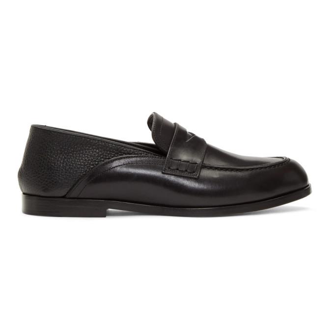 Loewe Black Leather Slip-On Loafers
