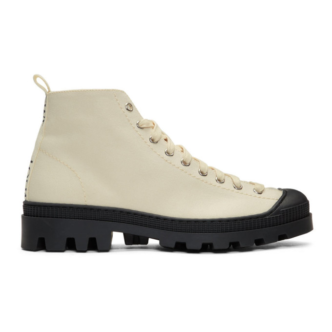 Loewe Off-White & Black Canvas Lace-Up Boots