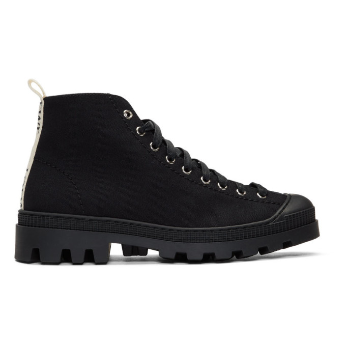 Loewe Black Canvas Lace-Up Boots