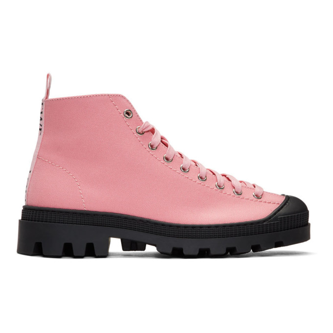 Loewe Pink & Black Canvas Lace-Up Boots