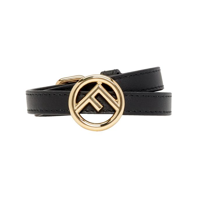 Fendi Black Leather 'F is Fendi' Bracelet