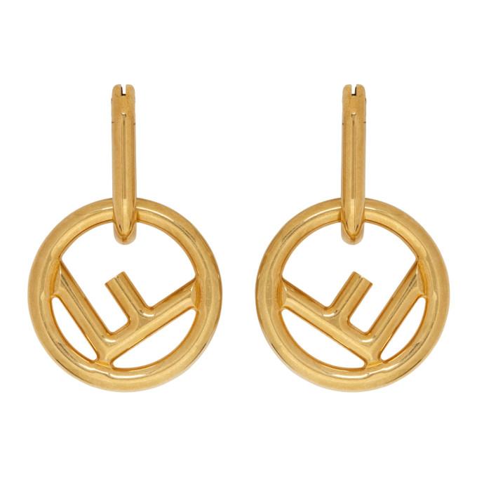 Fendi Gold 'F is Fendi' Hoop Earrings