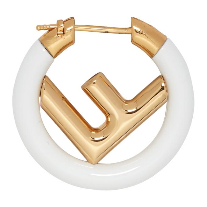Fendi Gold & White 'F is Fendi' Earring