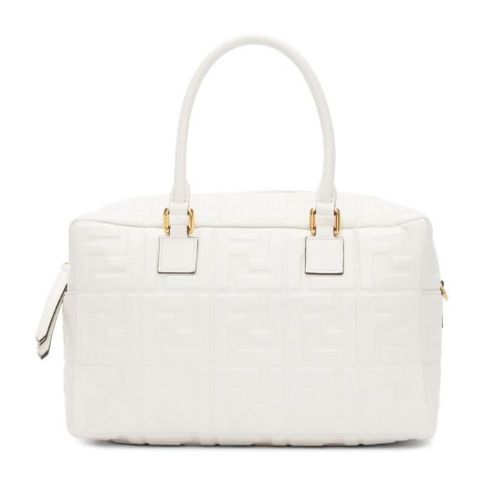 Fendi White Small Forever Fendi Boston Bag