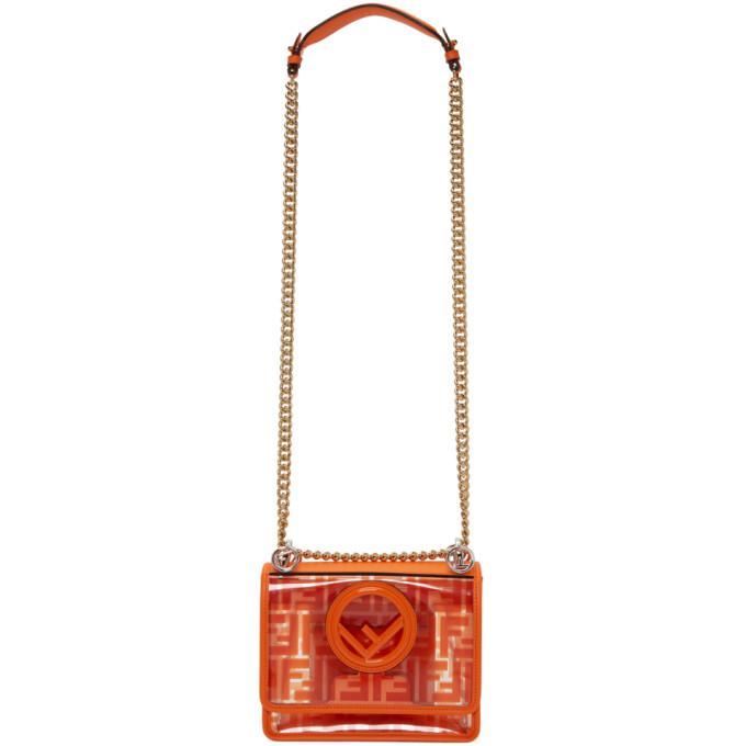 FENDI | Fendi Transparent and Orange Small Kan I F Bag | Goxip