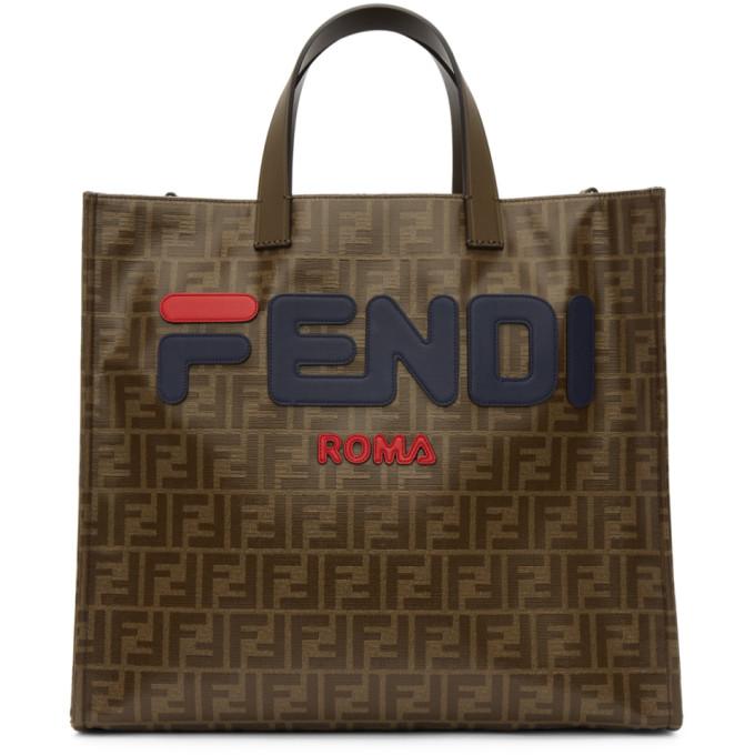 Fendi Mania Small Coated Canvas Tote Bag in F1562 Blue