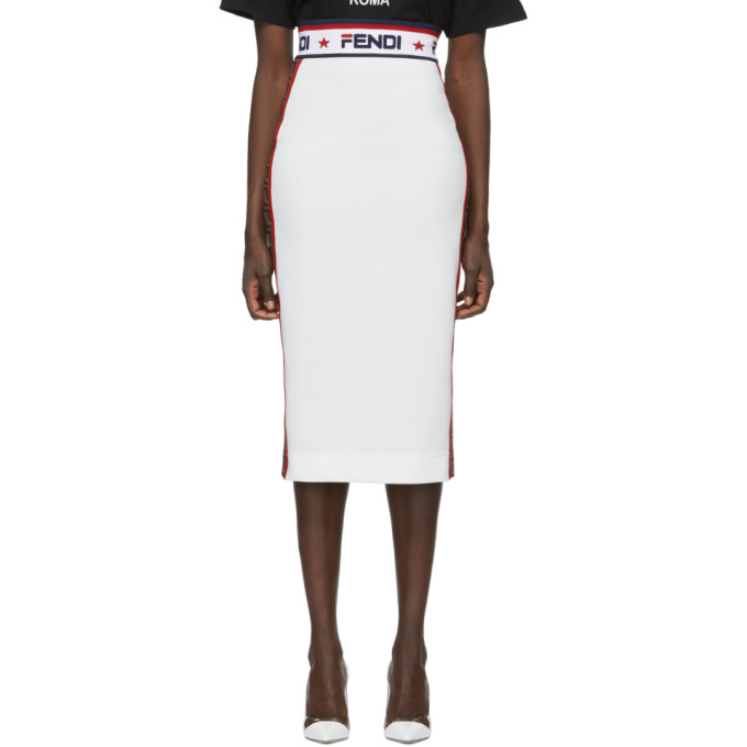 f2fecd9ab23 Fendi White Fendi Mania Pencil Skirt