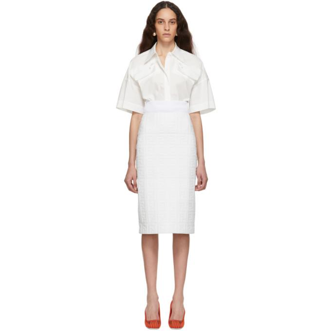 FENDI | Fendi White Leather Forever Fendi Skirt | Goxip